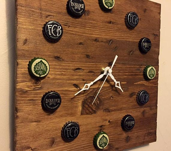 Custom Upcycled Beer Cap Clock you provide caps by ScrapDesignCO