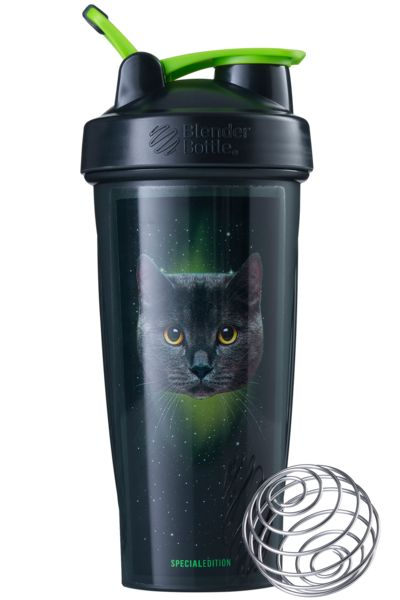 The world's #1 best-selling shaker cup for a reason – it works. Featuring an inter-dimensional cat with galactic colors.
