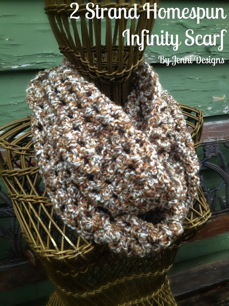 By Jenni Designs: 2 Strand Homespun Infinity Scarf - Free Crochet Pattern.