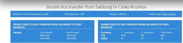 Book Shuttle bus transfer from Salzburg to Cesky Krumlov from Czechshuttle. We offer you to choose our private or shared shuttle bus transfer service that is affordable, reliable and comfortable. Also you can hire our private bus if you want to travel only and only with your group, friend or family. Read More: http://czechshuttle.com/shuttle-salzburg-to-cesky-krumlov/