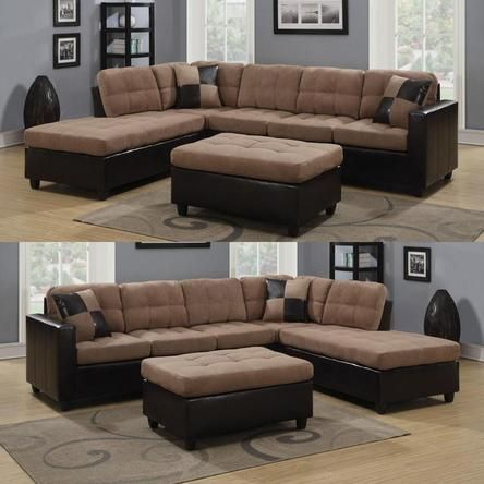 Coaster Tan Microfiber And Leather Like Vinyl Upholstery Reversible Chaise  Sectional Track Arms Sofa Ottoman