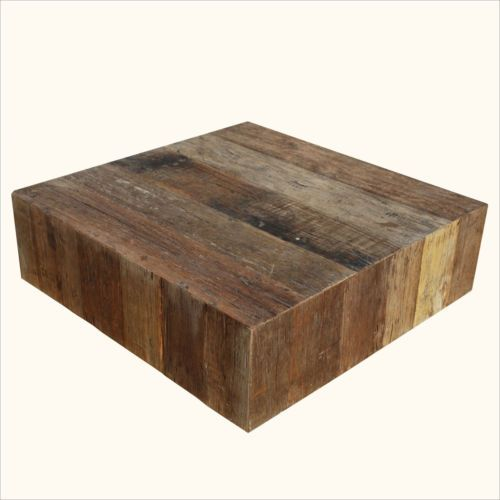 Rustic Railroad Ties Reclaimed Wood Square Sofa Coffee Table Furniture Ebay For The Home
