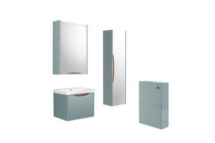 Bathroom furniture with copper accents from Utopia Bathrooms.