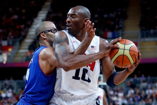 Olympics: Day Two - JULY 29: Kobe Bryant #10 of United States moves the ball against Tony Parker #9 of France in the Men's Basketball Game on Day 2 of the London 2012 Olympic Games at the Basketball Arena on July 29, 2012 in London, England. (Photo by Jamie Squire/Getty Images)