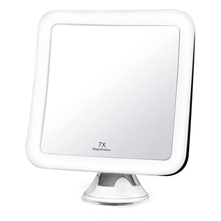 7X Magnifying LED Lighted Vanity Makeup Mirror – Natural Daylight Bathroom Travel Mirror - Cordless, Battery Power, Suction Mount, 5.2' Wide, 360 Rotation, Portable Illuminated Mirror (Square) * Find out more details by clicking the image : Travel essentials