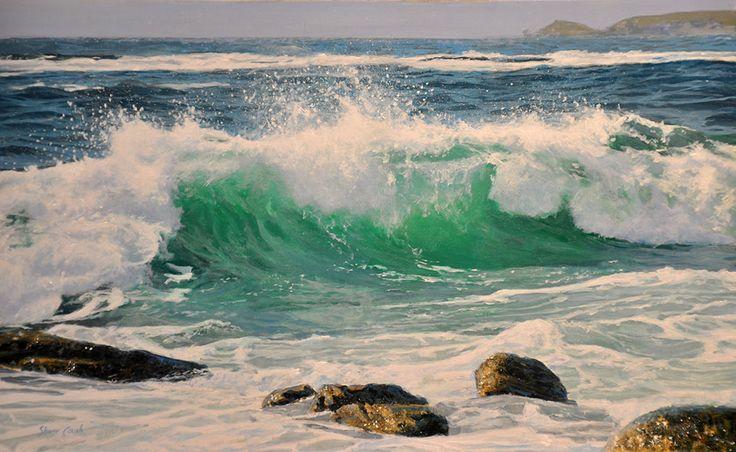 great realism  water crashing on rocks painting