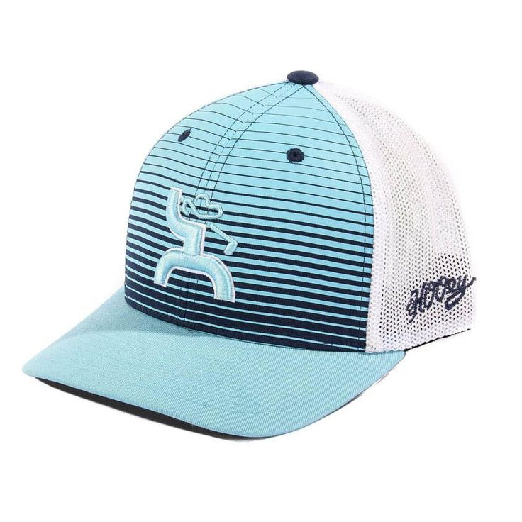 This Long Drive Golf hat will go with anything! The Flexfit feature guarantees a fit to anyone's head. The front is light blue and navy blue striped with the HOOey golf logo in light blue outlined in