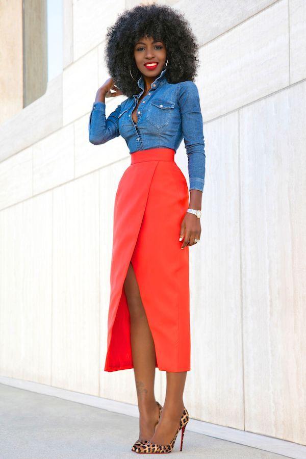 Fitted Denim Shirt + Front Slit Tulip Skirt