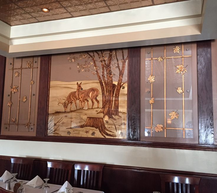 Custom Carved and Backpainted room divider in Bonfire restaurant in Homer Glen, IL