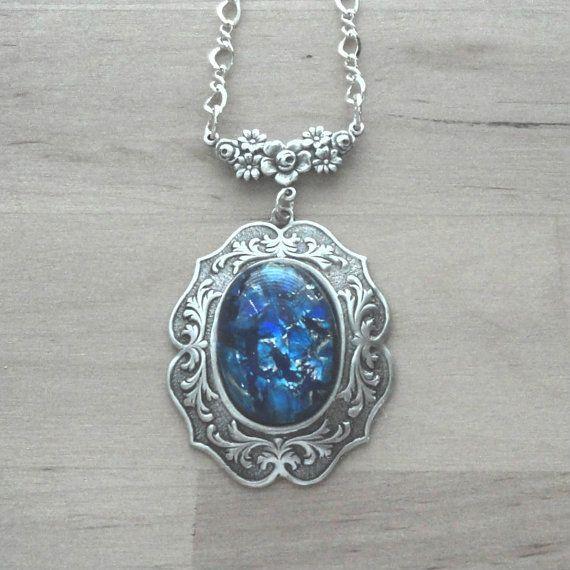 Blue Opal Necklace Opal Pendant Opal Jewelry Blue by pink80sgirl