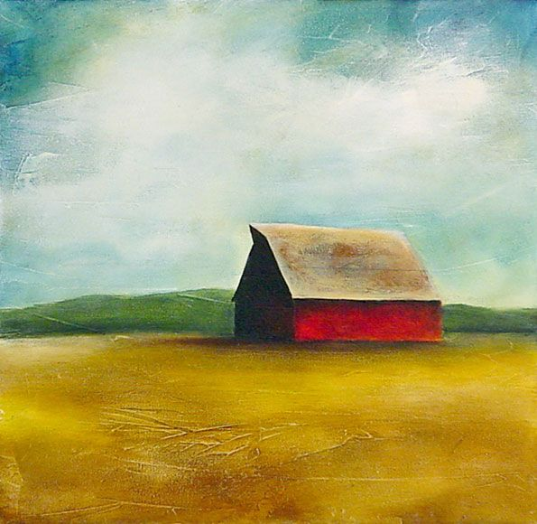 """Google searched """"red barns"""" one day and fell into a rabbit-hole of amazing paintings by Caitlin Schwerin.  Still my favorite artist to this day."""