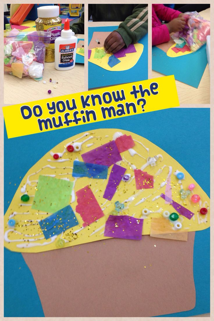 We decorated a paper muffin for our nursery rhyme theme. Do you know the muffin man?