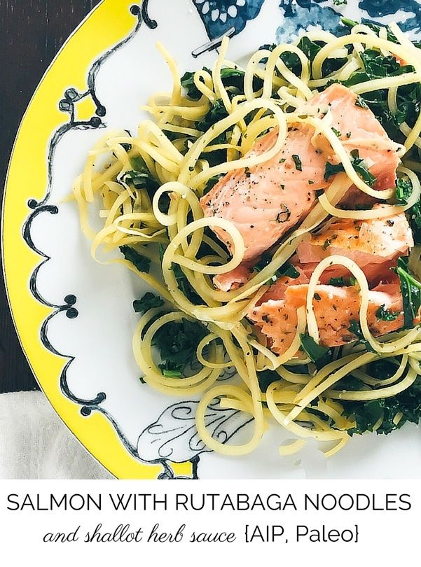 This seared salmon with inspiralized rutabaga noodles and a shallot herb sauce is healthy and satisfying! (An AIP salmon recipe, paleo and gluten-free)