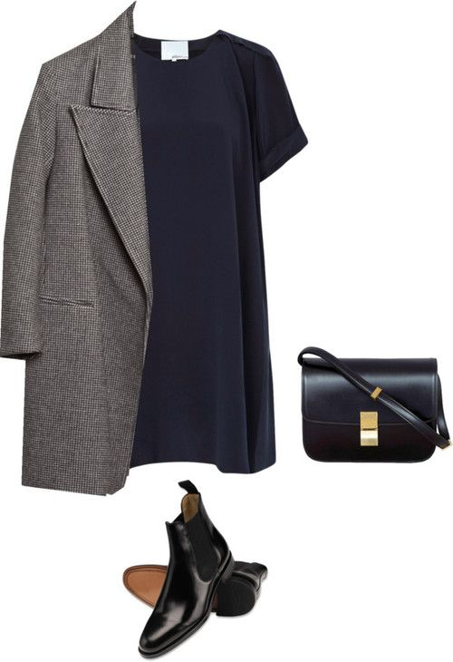 Untitled #319 by feryfery featuring 3.1 Phillip Lim liked on Polyvore3 1 Phillip Lim dress, $215 / Slim fit coat / Black chelsea boots | Men's boots from Charles Tyrwhitt | CTShirts.com