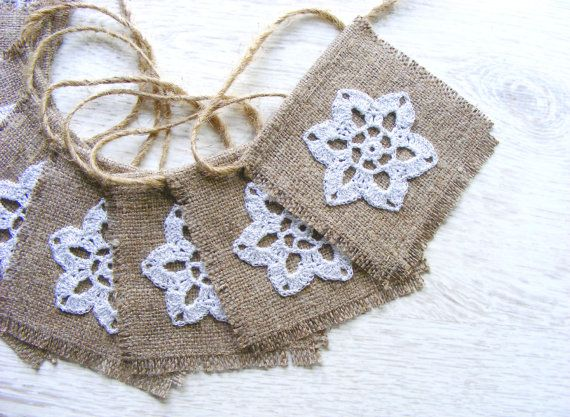 Wedding garland burlap wedding bunting with crochet by NatkaLV, $39.00