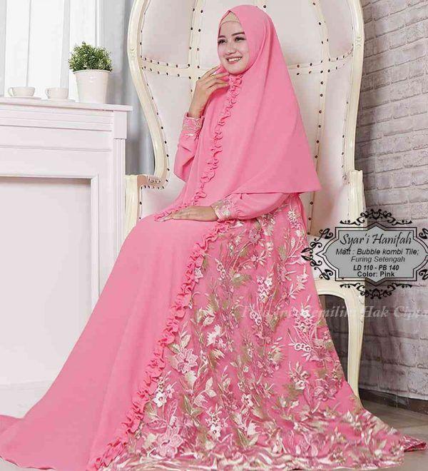 Gamis Kondangan Model Syari Terbaru 2019 Warna Putih Hanifah Baju