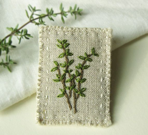 Thyme Embroidered Brooch by Sidereal on Etsy, $25.00