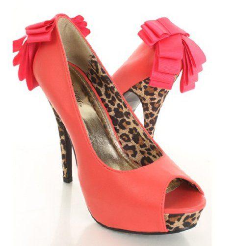 Shoesday: Leopard StilettosHeels Pump, Leopards Bows, Stilettos Heels, Leopards Contrast, Bows Peep, Leopards Stilettos, Cat Shoes, Toes Platform, Platform Stilettos