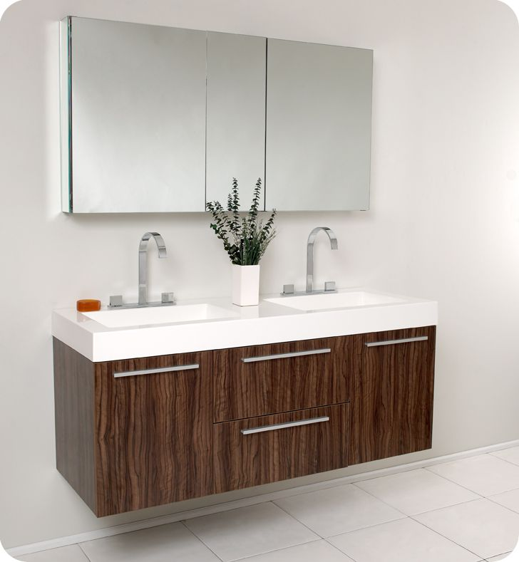 Fresca Opulento Walnut Modern Double Sink Bathroom