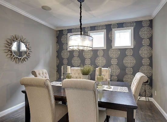 Dramatic Wallpaper Accent Wall For Dining Room