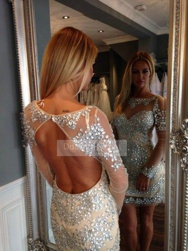 Shop New 2017 Gorgeous Short Open Back Cocktail Dress Crystal Long Sleeves Homecoming Dress ItemHnw0002 At D-daydress.com With 71% Off!