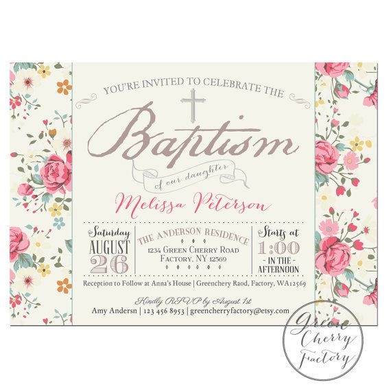 Printable Baptism Invitation  Girl Baptism by GreenCherryFactory, $18.00