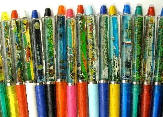 Pens with liquid scenes in them. 1980's style. haha so cool better than the plain pens we have now lol