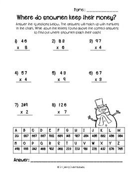 3 Free Winter Multiplication Riddles 12 Days Of Christmas Freebies Day 5 Winter Math Mathriddles Funmath Winter Math Worksheets Math Riddles Math Pages