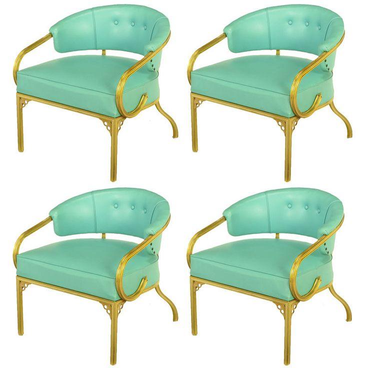 Four John Van Koert Attr. Brass U0026 Turquoise Lounge Chairs At