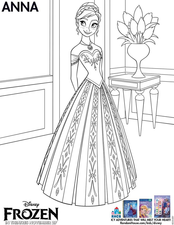 Frozen free printables! Anna coloring page