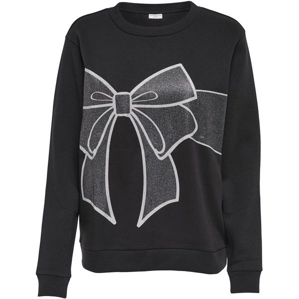 M&Co Jdy Christmas Bow Jumper (39.915 COP) ❤ liked on Polyvore featuring tops, sweaters, shirts, long-sleeved shirts, black, christmas long sleeve shirts, holiday sweaters, long sleeve shirts, graphic long sleeve shirts and metallic shirt