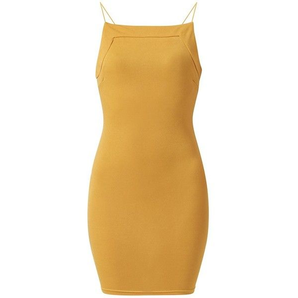 AX Paris Yellow Elasticated Strap Bodycon Dress ($16) ❤ liked on Polyvore featuring dresses, camel, strappy bodycon dress, brown bodycon dress, evening wear dresses, bodycon cocktail dress and bodycon dress