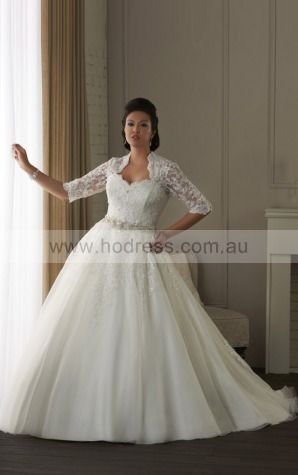 Sleeveless Buttons Tulle Sweetheart Ball Gown Wedding Dresses fycf1112--Hodress