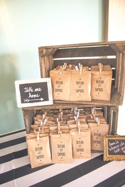 Wedding cookie favors in personalized brown paper bags {Wolf Photography}