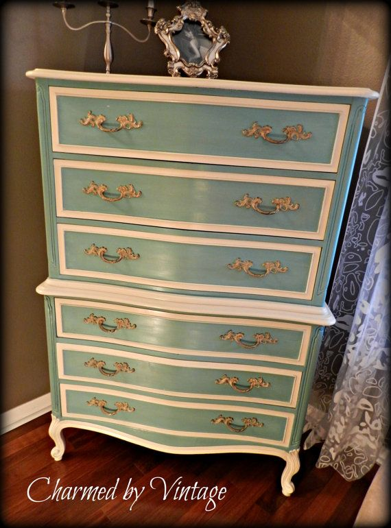 Vintage French Caribbean Blue Chest of Drawers .... inspiration- give it a more weathered/rustic look, change the white to gray and the handles to a gray or silver