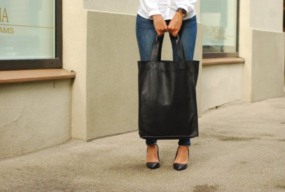 Big tote oversized bag black real leather by BLACKBAGSHOP on Etsy, $199.00