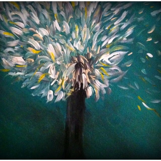 Abstract dandelion.  Painted by Carissa Elliott.