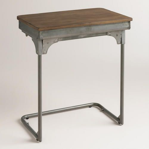 One of my favorite discoveries at WorldMarket.com: School Desk Laptop Table_89.99$ love the storage in the table. hmmm