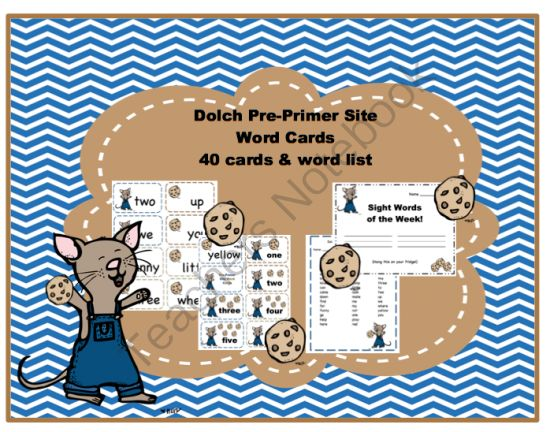 Mouse Pre Primer Site Word Cards 2 from Preschool Printables on TeachersNotebook.com -  (11 pages)  - 40 Pre-Primer Sight word cards/Word list/Number cards 1-10