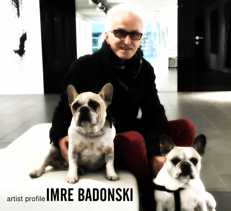Imre Badonski with his two much loved french bulldogs, Bronson and Olive, 2016 #artist #frenchie