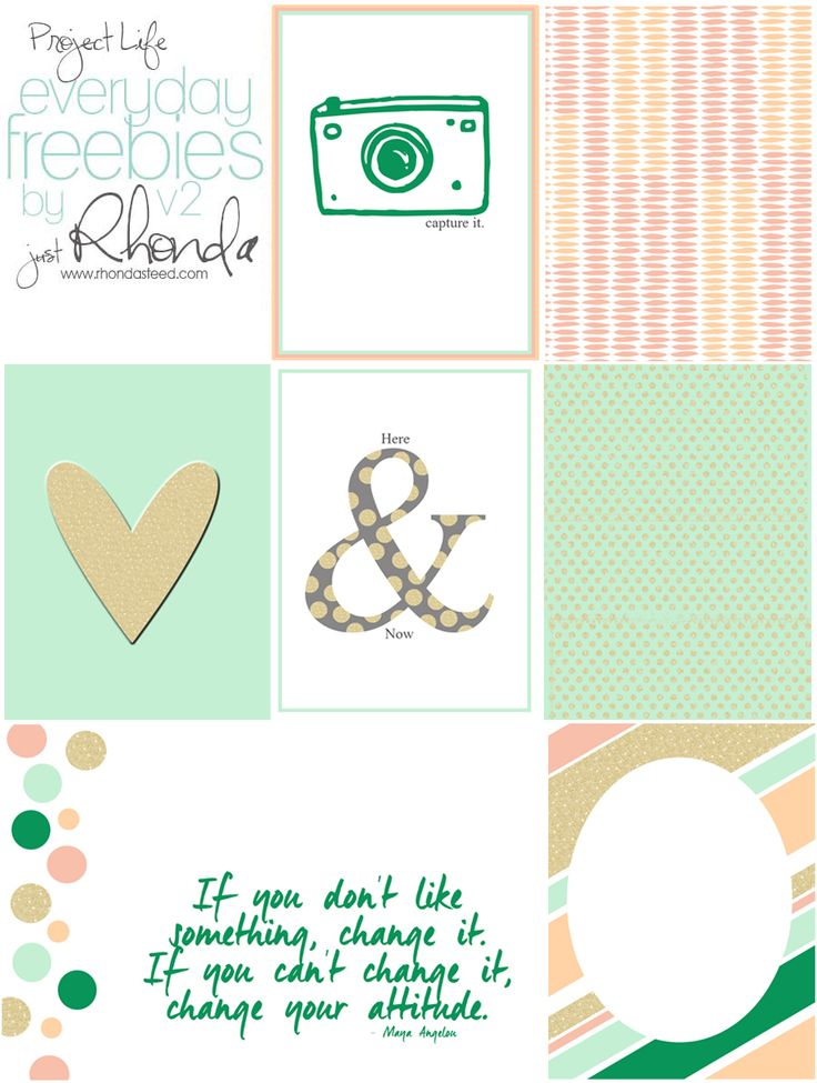 Free Everyday Journal Cards for Project Life from RhondaSteed.com