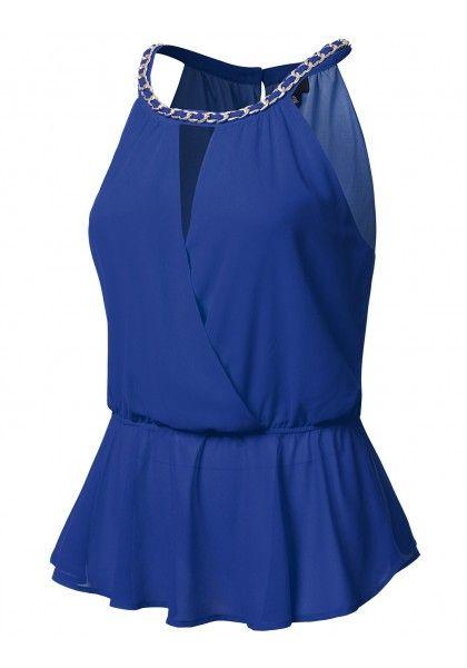 Sleeveless Chiffon Peplum Top With Peek-A-Boo Chest & Chain Collar #jtomsonplussize