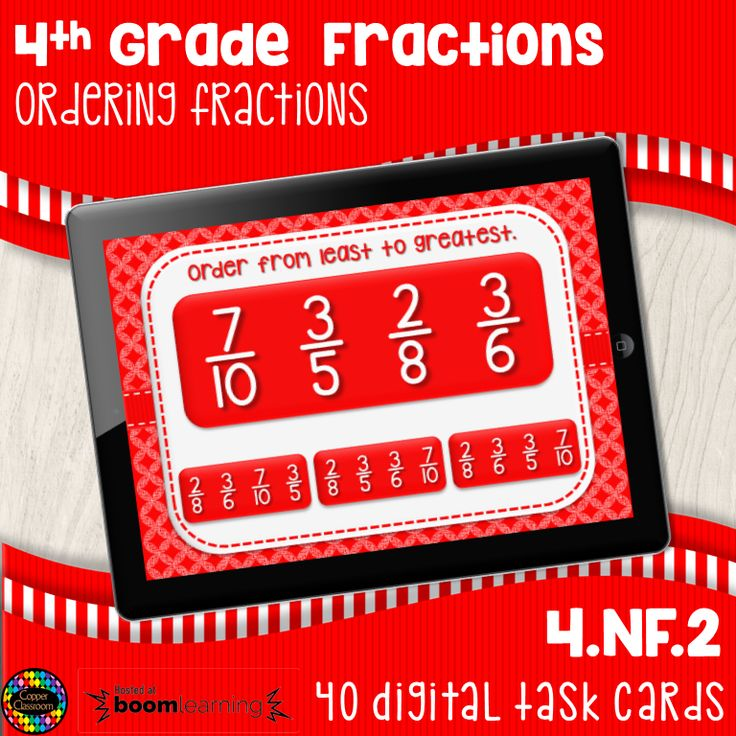 Ordering fractions digital task cards distance learning