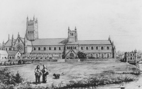 Waltham Abbey Churchartist's impression of how the church at Waltham Abbey looked before the dissolution by Henry VIII. Year of original image , 13th Century.