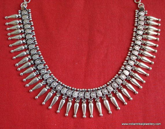 traditional design silver necklace choker by indiantribaljewelry, $240.00