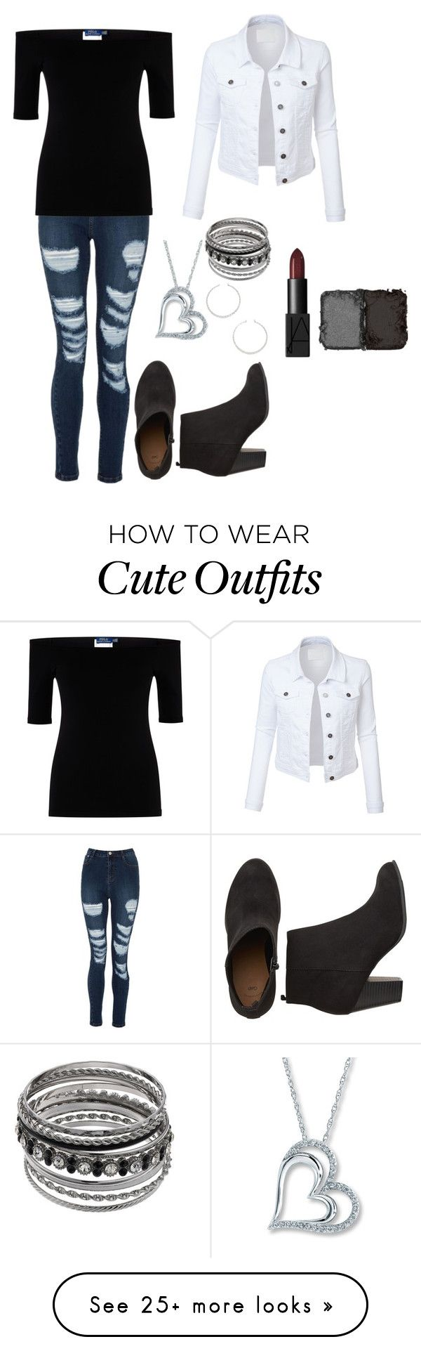 """""""My Outfit Idea: Simple, Edgy, and Cute"""" by mias-angels on Polyvore featuring Polo Ralph Lauren, LE3NO, Forever 21 and NARS Cosmetics"""