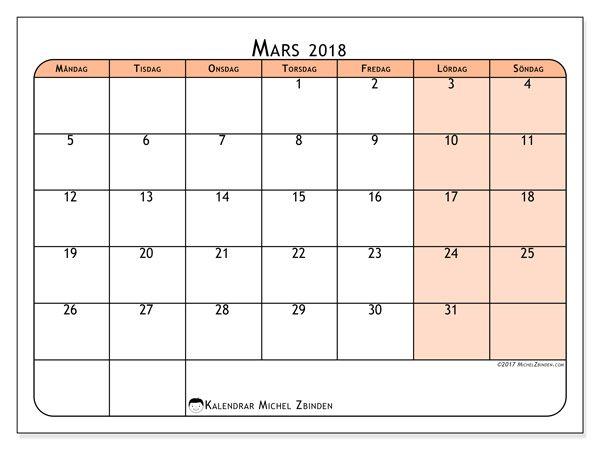 Kalender för att skriva ut mars 2018 - Olivarius