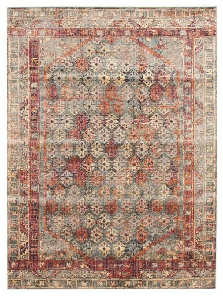 Add a vintage touch with modern tones with the Amunet Red Multi Coloured Faded Transitional Patterned Border Rug