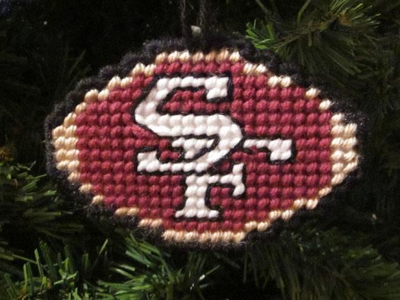 San Francisco 49ers Christmas Ornament In Plastic Canvas