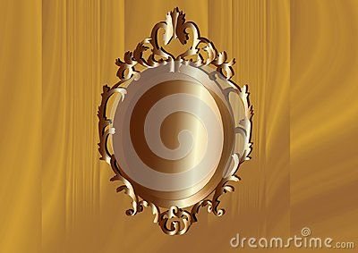 Bronze Baroque frame with tree background. Vector illustration.